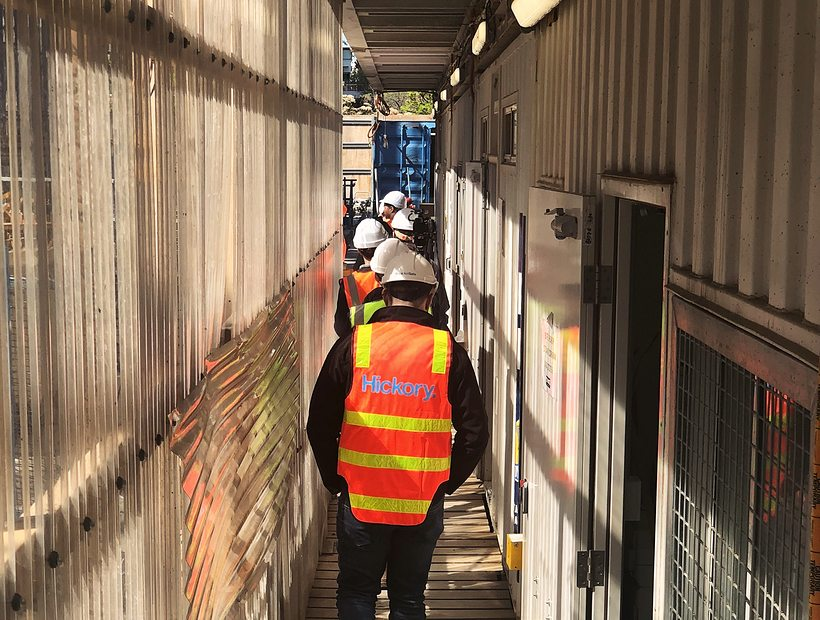 construction workers in hallway