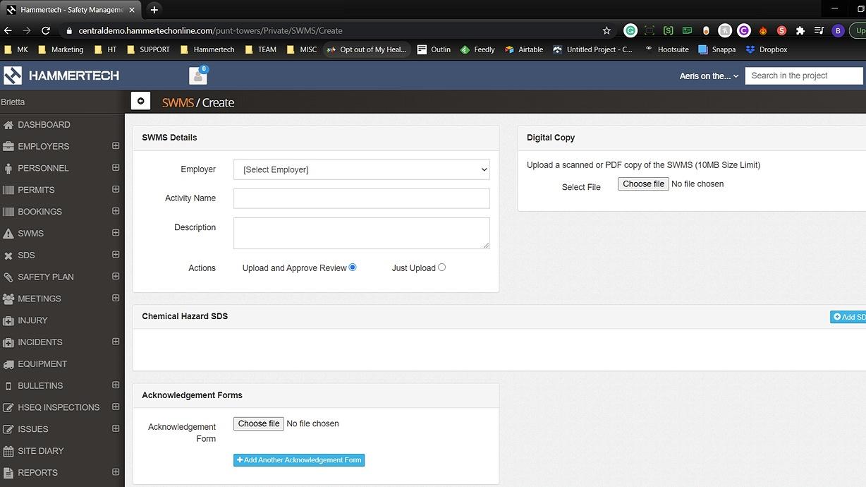 SWMS screenshot from hammertech dashboard